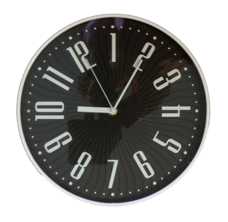 Wall Clock Design 30cm Modern Glass Kitchen Clock Black