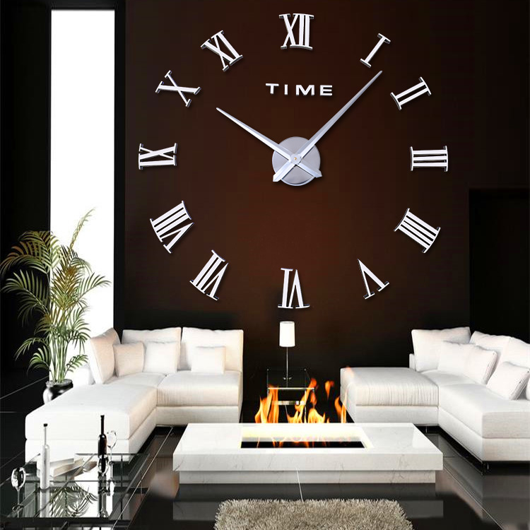 design wanduhr silber 100 cm 3 d xxl uhr moderne selbst gestaltbare r mishe zahl ebay. Black Bedroom Furniture Sets. Home Design Ideas