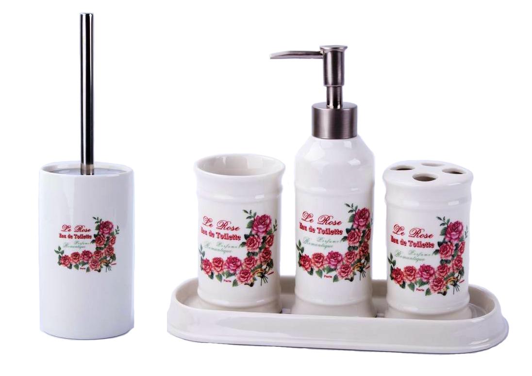 vintage badset badezimmer zubeh r set seifenspender wc b rste rosen ebay. Black Bedroom Furniture Sets. Home Design Ideas