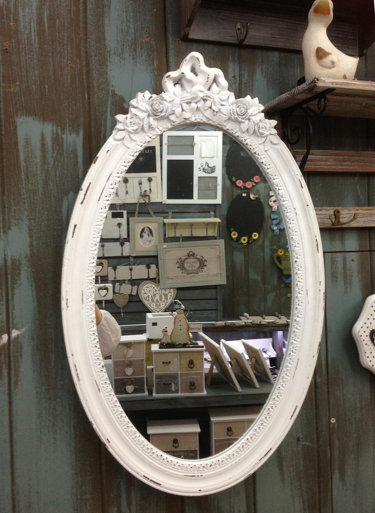 antik holz wandspiegel spiegel 64 cm garderobenspiegel flurspiegel barock wei ebay. Black Bedroom Furniture Sets. Home Design Ideas