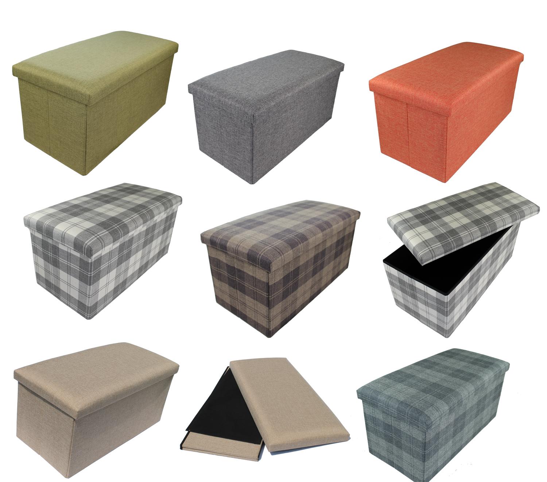 hocker sitzhocker aufbewahrungsbox sitzw rfel polster stoff sitzbank faltbar ebay. Black Bedroom Furniture Sets. Home Design Ideas